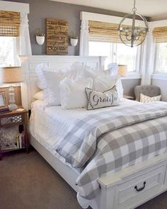 Are you looking for pictures for farmhouse bedroom? Browse around this website for very best farmhouse bedroom ideas. This particular farmhouse bedroom ideas seems to be completely excellent. Farmhouse Bedroom Furniture, Farmhouse Master Bedroom, Master Bedroom Design, Farmhouse Decor, Modern Farmhouse, Farmhouse Style, White Rustic Bedroom, Master Master, Antique Farmhouse