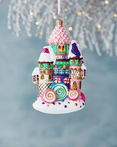 Christopher Radko hand painted glass Christmas tree ornament of a candy castle