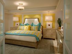 15 Gorgeous Grey, Turquoise and Yellow Bedroom Designs | Turquoise ...