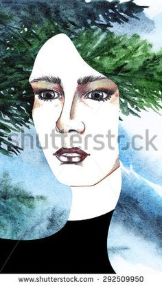 Watercolor tree pine wood forest hair girl