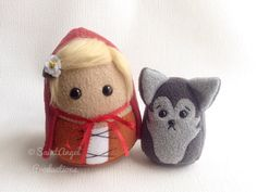 Custom Little Red Riding Hood and Wolf Plushies by Saint-Angel.deviantart.com on @deviantART super cute ,kawaii doll plushie toys for fairy tale lovers