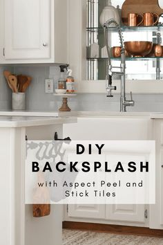 We tiled our DIY backsplash with aspect peel and stick tiles and it is super easy to install. The tiles look stunning in my new kitchen. All you do is peel and stick onto your wall. This is a great way to update your kitchen yourself. Cabin Kitchens, Modern Farmhouse Kitchens, Cool Kitchens, Stick Tiles, Peel And Stick Tile, Kitchen Decor, Kitchen Design, Kitchen Ideas, Kitchen Inspiration