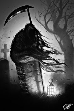 Where Old Ghosts Play — whitechapelwitch: >>x<< Grim Reaper Art, Grim Reaper Tattoo, Don't Fear The Reaper, Creepy Drawings, Dark Art Drawings, Skull Tattoo Design, Skull Tattoos, Dark Fantasy Art, Arte Horror