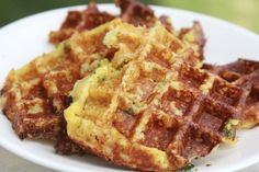 """Savory cheese chive waffles made with cauliflower. Can't wait to try!! Apparently you can bake in the oven to make """"pancakes"""" as well."""