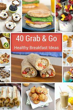 40 Grab-and-Go Healthy Breakfast Ideas - muffins, breakfast cookies, smoothies…