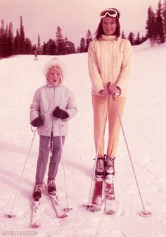 mom mother daughter child skiing ski fashion retro vintage color photo