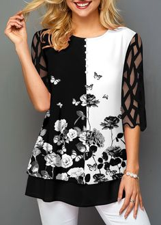 Blouse Patterns, Blouse Designs, Dress Drawing, Floral Sleeve, Chic Outfits, Cute Dresses, Designer Dresses, Fashion Online, Tunic Tops