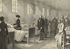 Empress Sissi was fearless in epidemics; visiting the sick in a general Hospital in Vienna 1880 wood engraving after Rudolph Hausleithner