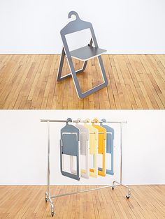 Folding Furniture Hanger Chair by Philippe Malouin Folding Furniture, Multifunctional Furniture, Cardboard Furniture, Smart Furniture, Modular Furniture, Space Saving Furniture, Furniture Plans, Furniture Design, Barbie Furniture