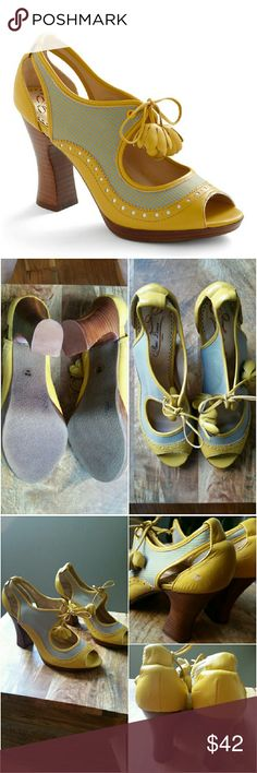 """Poetic License 8 'Girl About Town' Yellow Shoes These Poetic License size 8M 'Girl About Town' Mustard Yellow & Blue Bootie Style Shoes from Modcloth are in good used condition. The bottoms and tops are great, but there is one scuff (shown in 3rd pic frame, top right corner). Leather and fabric upper. Approx 3"""" heel. Great vintage inspired style from this London brand. (Europe size 39) ::: Bundle 3+ items from my closet and save 30% off when you use the app's Bundle feature! ::: No trades…"""
