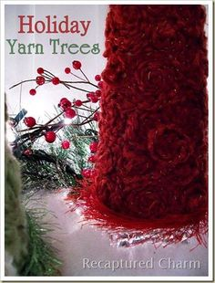 Holiday Yarn Trees - great idea for all my extra yarn Christmas Tree Topiary, Corner Christmas Tree, Wooden Christmas Trees, Christmas Crafts, Christmas Ideas, Holiday Ideas, Crochet Christmas, Christmas Wreaths, Christmas Decorations