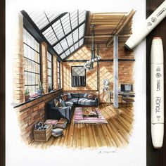 We talk about Art, Design and Architecture, feature talented artists from around the world.Come for the Art and checkout our Apps. Croquis Architecture, Architecture Design Concept, Interior Design Renderings, Plans Architecture, Loft Interior Design, Interior Sketch, Color Interior, Interior Design Drawing, Interior Architecture Drawing