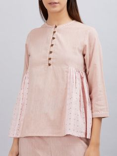Old Rose Cotton Pleated Top Cotton Tops For Jeans, Online Clothing Websites, Latest Outfits, Teen Outfits, Boyfriend Jeans Style, Fancy Tops, Mode Hijab, Boutique, Kurtis