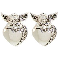 """Perfect for the Flower Girl! 5/8 x 7/8"""" Cherub Angels on Heart Earrings in Silver Tone"""