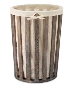 Loving this Wood & Linen Laundry Hamper on #zulily! #zulilyfinds