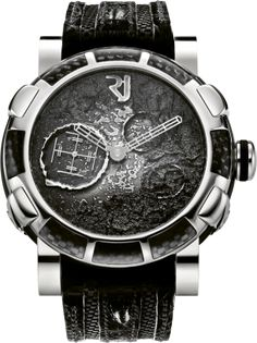Romain Jerome: Moon Dust Steel Mood Black Auto Watch from The Moon Dust-DNA collection...