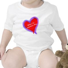 """""""Baby's 1st Valentine's Day"""" Red Double Heart.  Outer heart is mixture of pink and blue shades in the look of feathers.  Original Graphic Art Digital Painting design by TamiraZDesigns via:  www.zazzle.com/tamirazdesigns*"""
