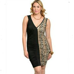 (Plus) Curvy Black Dress With Accent Animal Print