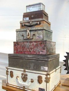 vintage metal boxes in a stack Repinned by www.silver-and-grey.com
