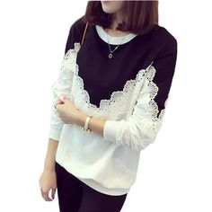 2016 autumn T Shirt Women Fashion Brand Long Sleeve Sexy Lace Crochet T-Shirt Embroidery Slim Casual O neck Tops Plus Size 4xl #Affiliate