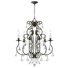 For our foyer....Love!!!  Ashton English Bronze Six-Light Chandelier with Hand Polished Crystal #love