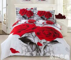 Two Red Roses Print 4 Piece Duvet Cover Sets Bedroom Drapes, Dream Bedroom, Bedroom Decor, Tribal Bedding, Floral Bedding, Window Bed, Skull Decor, Beautiful Bedrooms, Duvet Cover Sets