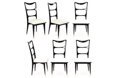 One Kings Lane - This Week's Vintage Mix - Black Lacquer Dining Chairs, Set of 6