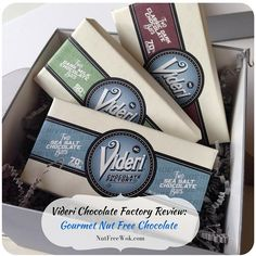 I was happy to learn about Videri Chocolate Factory which makes gourmet quality chocolate in a nut free facility. I was so impressed by the friendly and quick responses to my allergen questions Wok Recipes, Sweets Recipes, Desserts, Peanut Free Snacks, Teal Pumpkin Project, Salted Chocolate, Nut Allergies, Chocolate Factory, Eat Dessert First