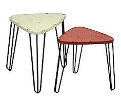 Set de 2 mesas en metal – beige y rojo