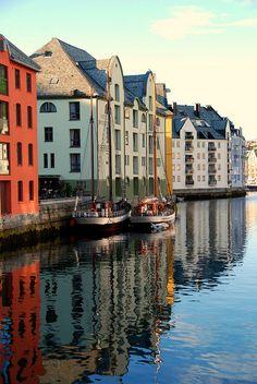Reflections in Alesund, Norway by waynekorea, via Flickr