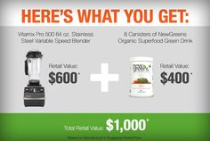 Vitamix and NewGreen giveaway Organic Superfoods, Drinks, Giveaways, Amazing, Green, Animals, Drinking, Beverages, Animales