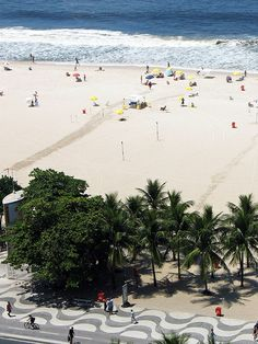 Copacabana Beach, Rio de Janeiro, Brazil.  Nice wide beach with bike riding boardwalk and amazing views!
