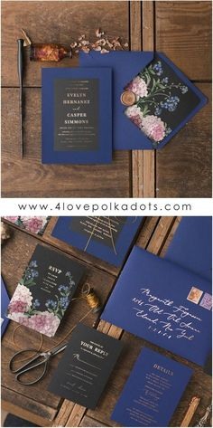 Beautiful wedding invitations customized to match your wedding colors, style, and theme. This time our idea for perfect wedding stationery is full of flowers in deep color palette of Navy & Black #wedding #handmade
