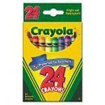 Classic Color Pack Crayons, Wax, 24 Colors per Box by BINNEY & SMITH / CRAYOLA. $0.01. Includes key primary and secondary colors. Convenient small package. Provides hours of creative coloring fun. Double-wrapped crayon for extra strength. Preferred by Teachers. From the Manufacturer 24ct Crayons with convenient packaging and educator preferred color selcetion, provides hours of creative coloring fun.  Product Description Here it is: the classic box of crayons for every use. The ...