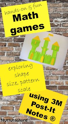 Great ideas for hands-on math games using Post-It notes: exploring shape, scale, patterns and size.