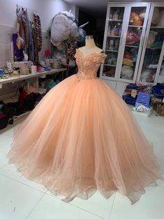 Long Prom Dress Off the Shoulder Wedding Dress Lace Beads | Etsy Quinceanera Dresses Peach, Peach Prom Dresses, Quince Dresses, Sweet 16 Dresses, Wedding Dresses, Quinceanera Themes, Ball Gown Dresses, 15 Dresses, Elegant Ball Gowns