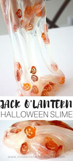 Our homemade jack o lantern slime for a fun Halloween slime recipe for kids! We have many awesome holiday slime ideas including vampire slime, bat slime, spider slime, monster slime, and pumpkin slime! Use our easy to make homemade slime recipes, taste safe slime recipes, and even borax free slime recipes to make awesome DIY Halloween slime with kids.