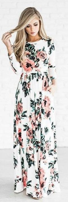 #winter #outfits white, pink, and green floral long-sleeved dress. Pic by @milano_streetstyle.