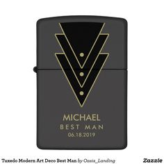Tuxedo Modern Art Deco Best Man Zippo Lighter - A thoughtful gift for the best man in your wedding, this design features a modern art deco-style tuxedo graphic with personalized text including your best man's name, title and wedding date. This makes a wonderful keepsake and thank you gift that will be long treasured. Sold at Oasis_Landing on Zazzle.