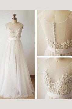 Wedding Dress Illusion Back, V Neck Wedding Dress, Wedding Dresses 2018, Illusion Dress, Perfect Wedding Dress, Bridal Dresses, Ivory Dresses, Event Dresses, Ivory Wedding