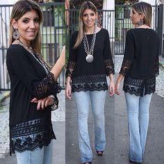 @boutiquedonacota - Calça flare jeans#Bata estruturada com guipir na barra e na manga e detalhe de botões nas costas#primavera/verão Dona Cota - igbox instagram web viwer