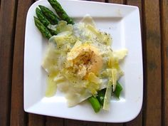 Asparagus, egg yolk ravioli, truffle oil & parmesan - delicious and gorgeous looking brunch, breakfast, side or snack