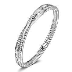Jewelry Deals special price  LadyColour SWAROVSKI ELEMENTS Waltz of Love Bangle Bracelet with Crystals From Swarovski2016 Best Choice for You