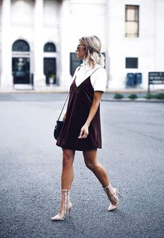"Style Tip: Make the ""white T-shirt and slip dress"" look work for evening by pairing the duo with statement heels."
