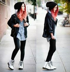 Black Denim dig the white boots Grunge Outfits, Edgy Outfits, Mode Outfits, Fall Outfits, Fashion Outfits, Grunge Look, Style Grunge, 90s Grunge, Grunge Hipster Fashion