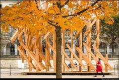 Kengo Kuma Designs Sculptural Pavilion in Paris,© Stefan Tuchila