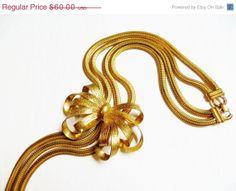 SALE Vintage Gold Snake Chain Bow Necklace by IfindUseekVintage, $51.00