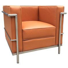 leigh modern terracotta leather arm chair