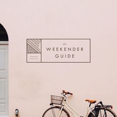 The Weekender Guide - Logo, typography and brand design inspiration. Pink and black. Sans serif and italic fonts. Geometric, line, minimal.: