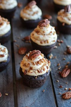 Thanksgiving cupcakes! Chocolate Bourbon Pecan Pie Cupcakes With Butter Pecan Frosting